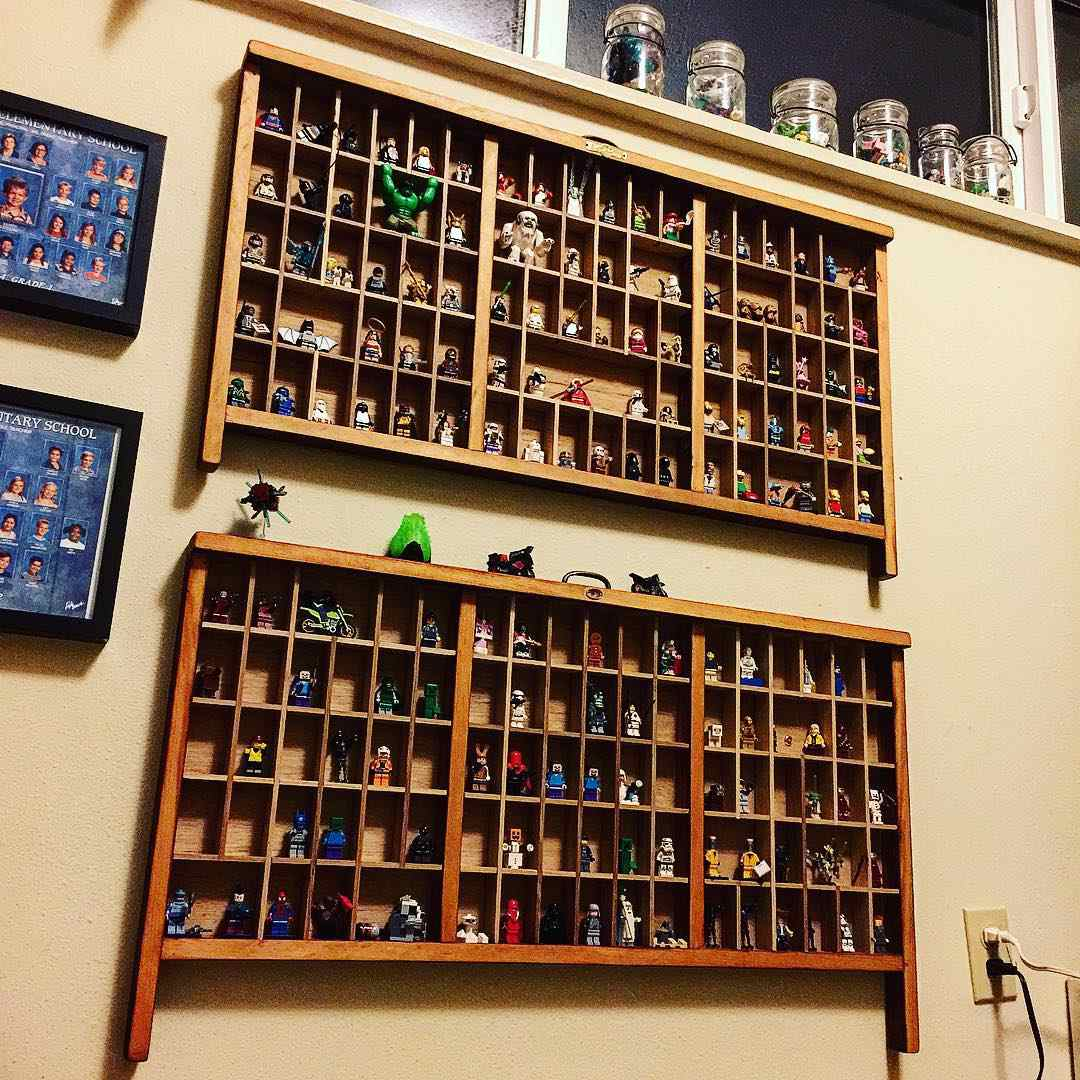 Letterpress drawers on a wall