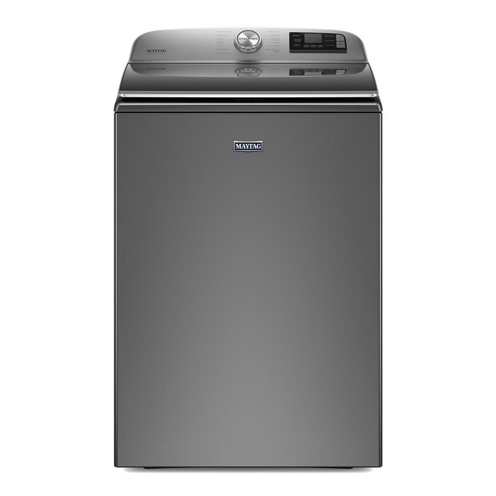 The Maytag MVW7230HC 5.2 cu. ft. Smart Capable Metallic Slate Top Load Washing Machine is one of the most spacious on the market.