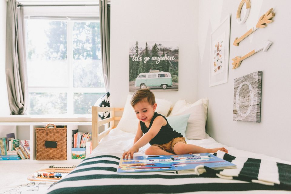 modern toddler boy's room with striped bedding