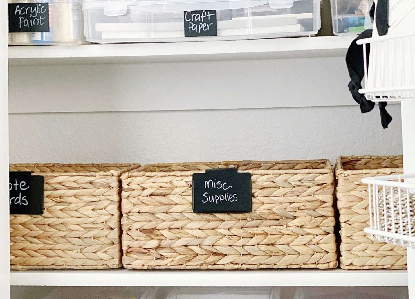 craft supplies store in plastic and woven baskets