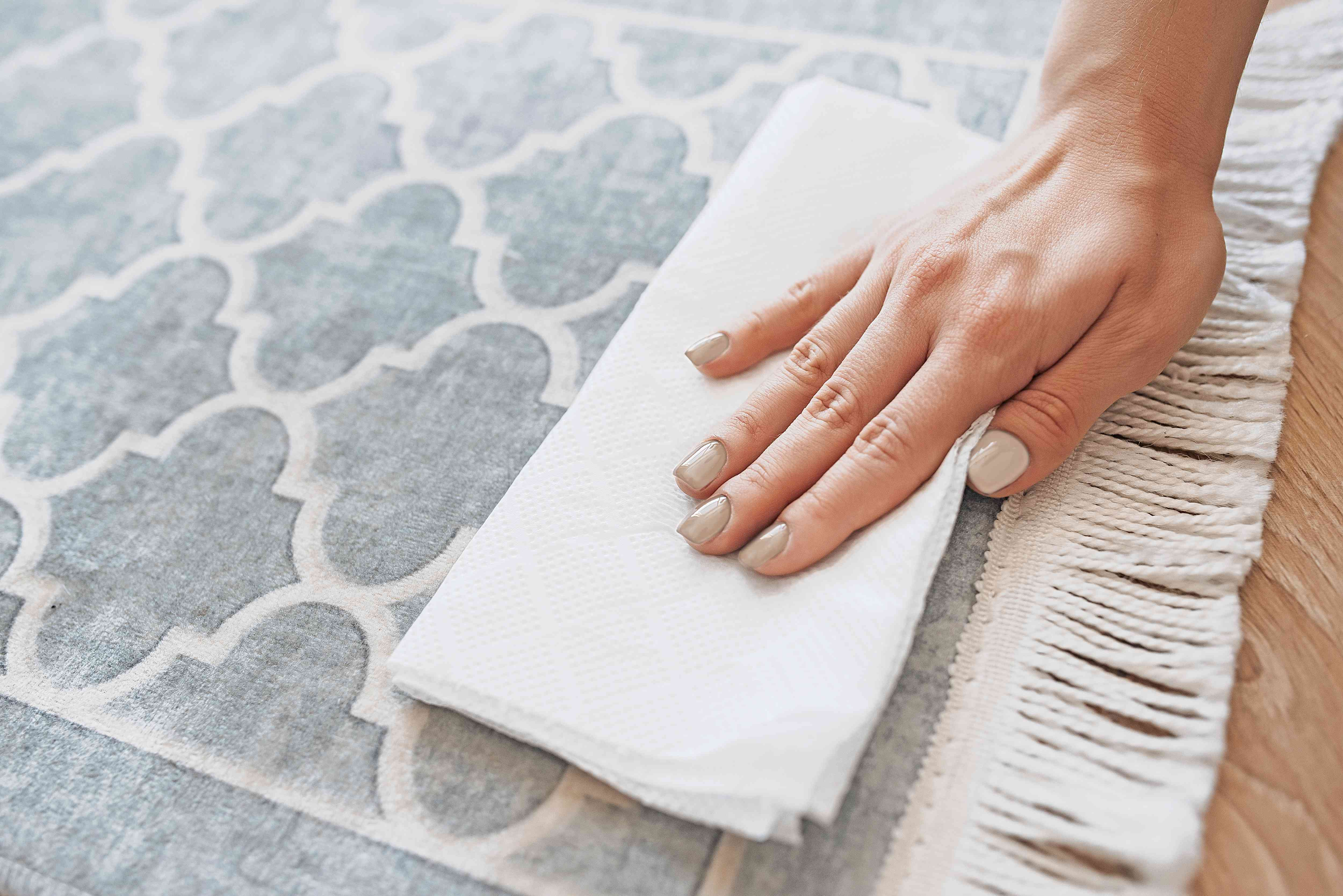 blotting carpet with paper towels