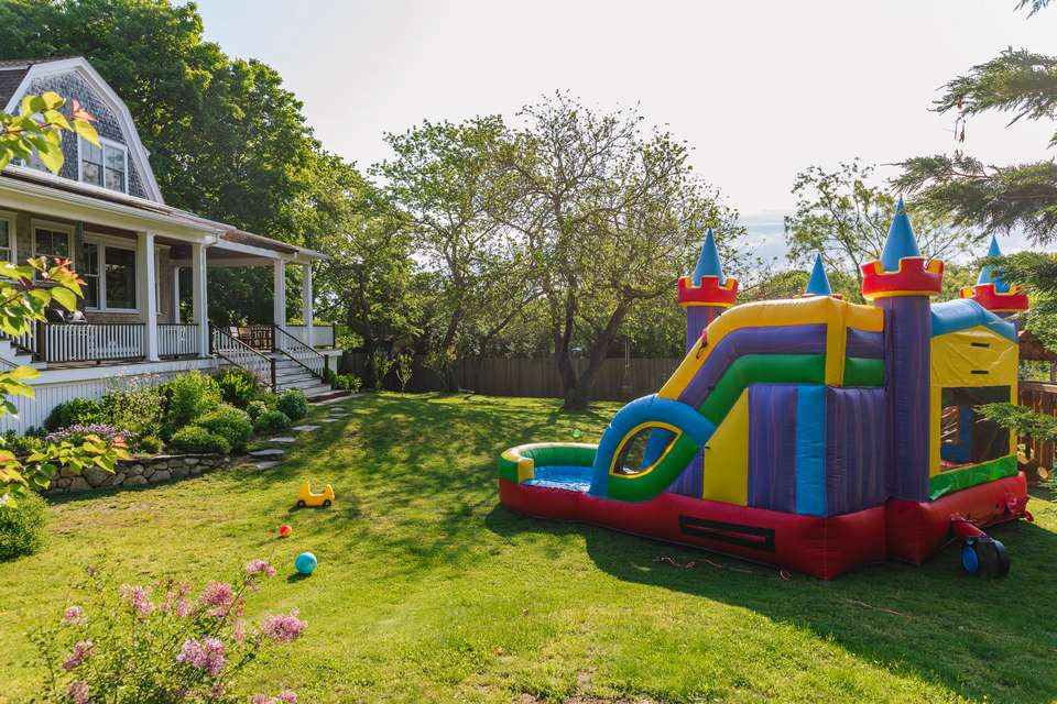 bounce house in a yard
