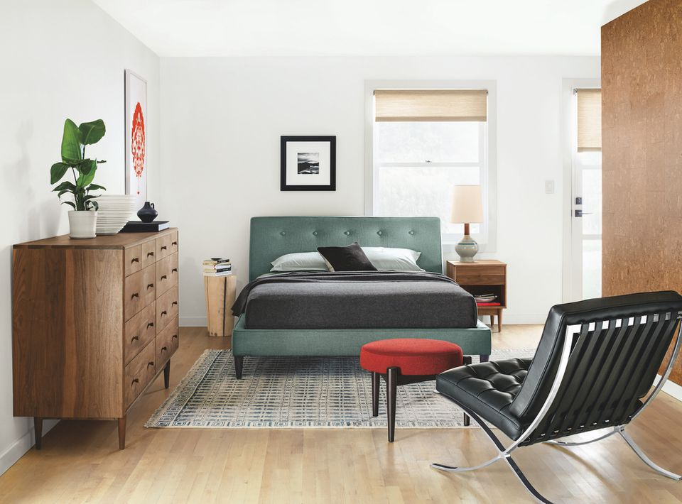 A bedroom full of Room and Board furniture