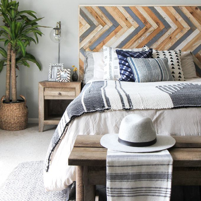 wood herringbone headboard