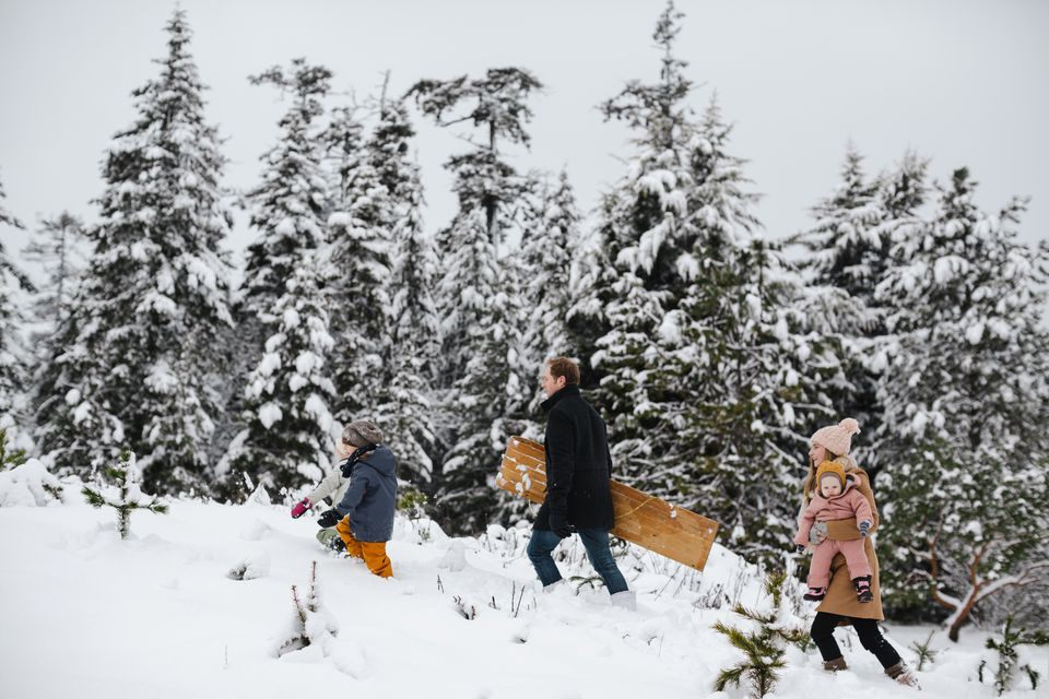 a family going sledding
