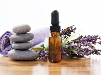 Lavender, rocks, and essential oil