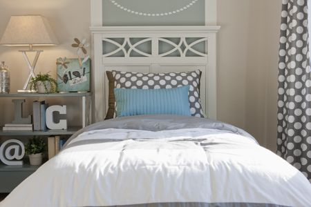 Fun Gray And Blue Bedroom With Polka Dots