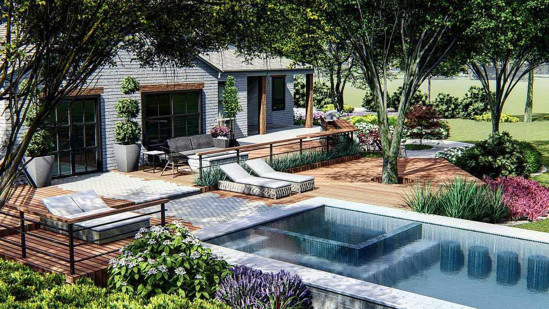 Cabaña con piscina en el suelo