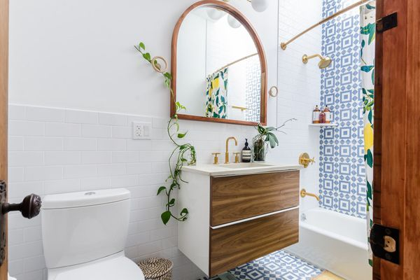 Tiny bathroom with houseplants on sink and exposed shower