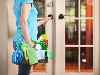 House Spring Cleaning Maid Housework Service, Cleaner Entering Home Door