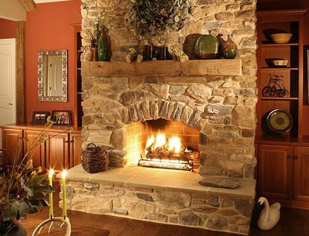 Rustic Stone Fireplace Surround