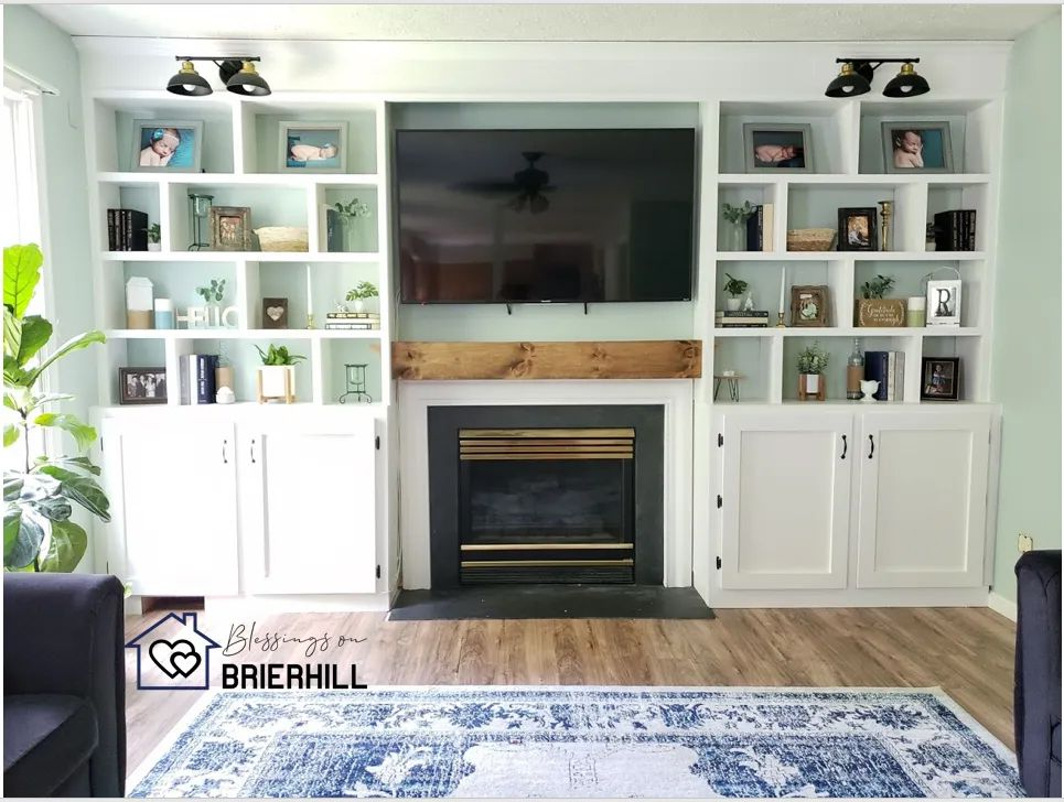A TV and bookshelves in a living room
