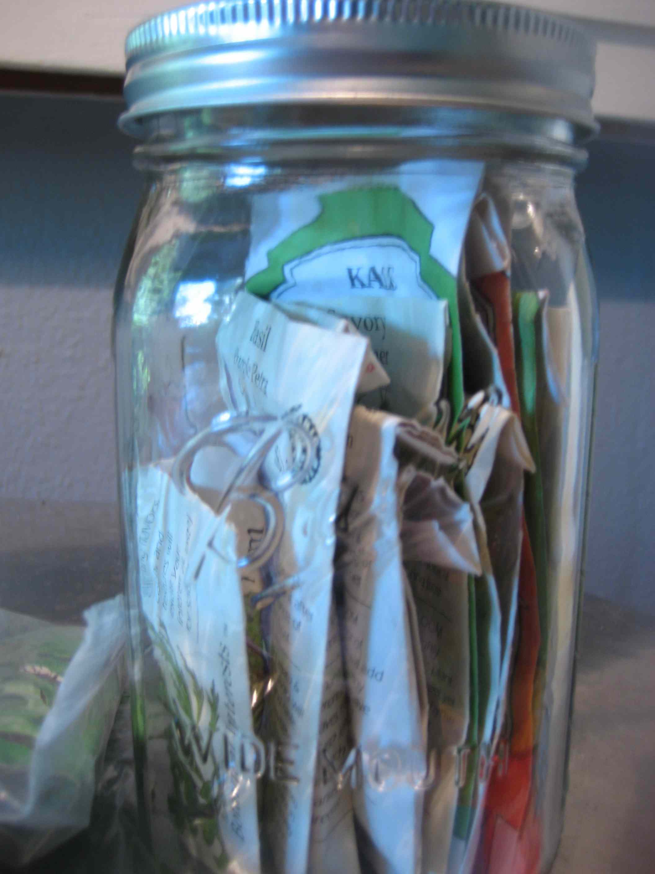 seed packets in mason jar