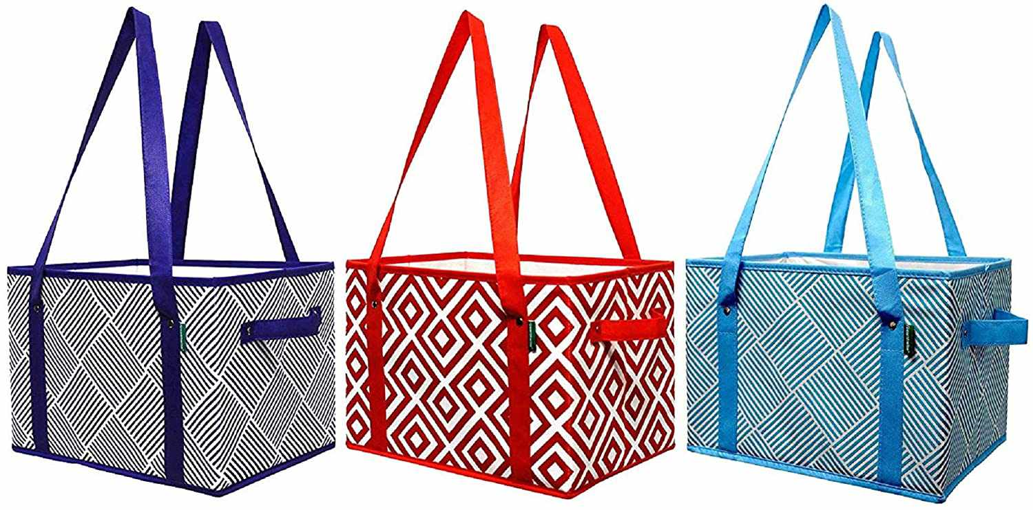 Earthwise Deluxe Collapsible Reusable Shopping Box Grocery Bag Set