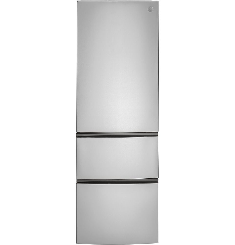 The GE GLE12HSPSS 11.9 cu. ft. Built-In Bottom Freezer Refrigerator is made to sit flush with your countertops.