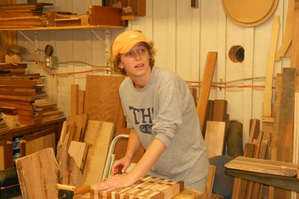 Katie Thompson in the workshop for Girls Who Build