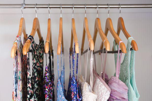 Dresses hanging in closet