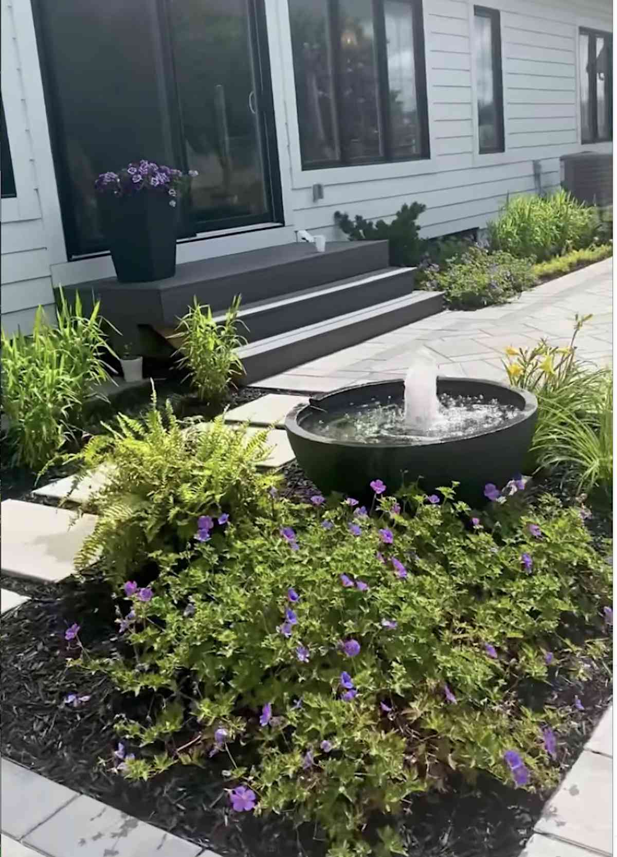 backyard with water bowl feature