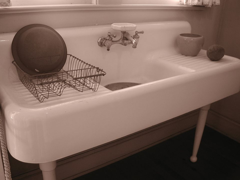 Old Double Sided Drainboard Sink In A Vintage Kitchen