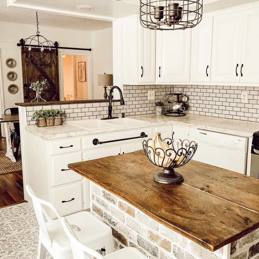 Kitchen island made from brick and wood