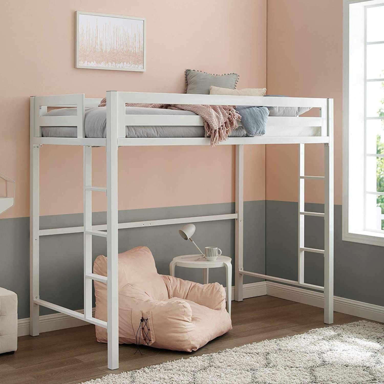 Walker Edison Furniture Company Deluxe Twin Metal Loft Bed
