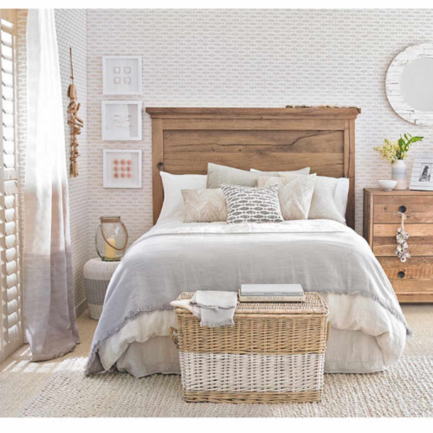 Neutral beach cottage bedroom