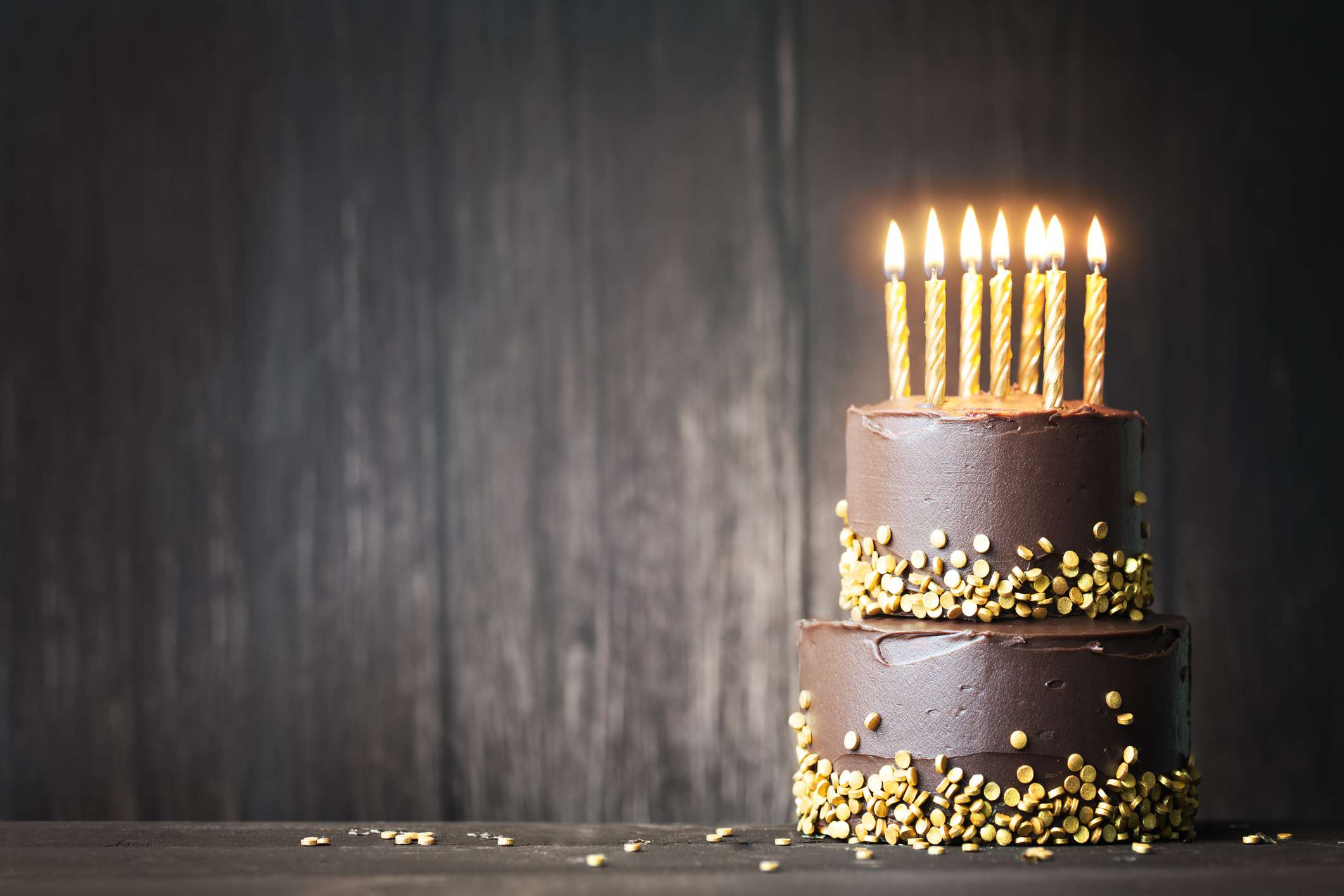 Chocolate birthday cake with yellow sprinkles