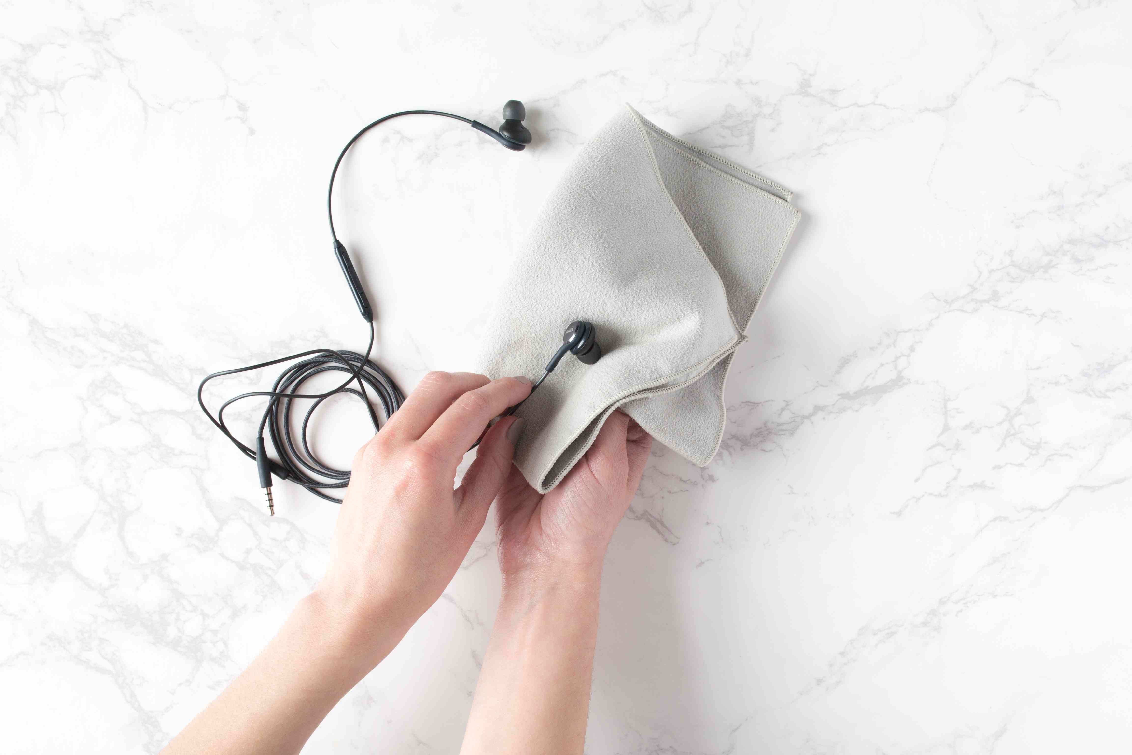 clean cell phone accessories with a microfiber cloth