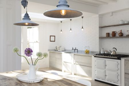 Kitchens With Open Shelving Pictures And Advice - Kitchen pendant lighting over stove