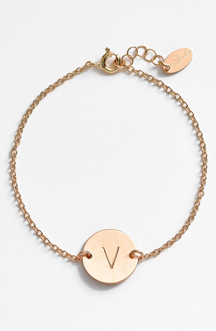 14k-Gold Fill Initial Disc Bracelet NASHELLE