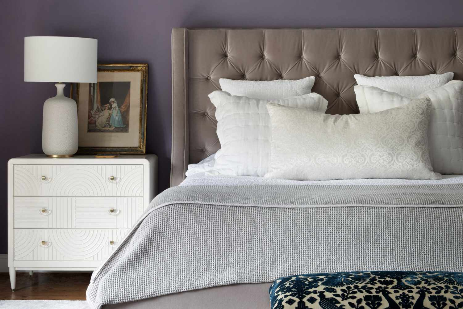 Brown and purple contemporary bedroom