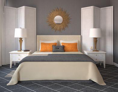 Orange And Grey Combination Modern Bedroom