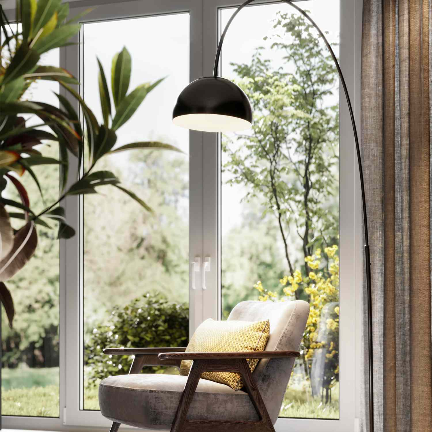 arm chair in living room with lamp and plant with big windows