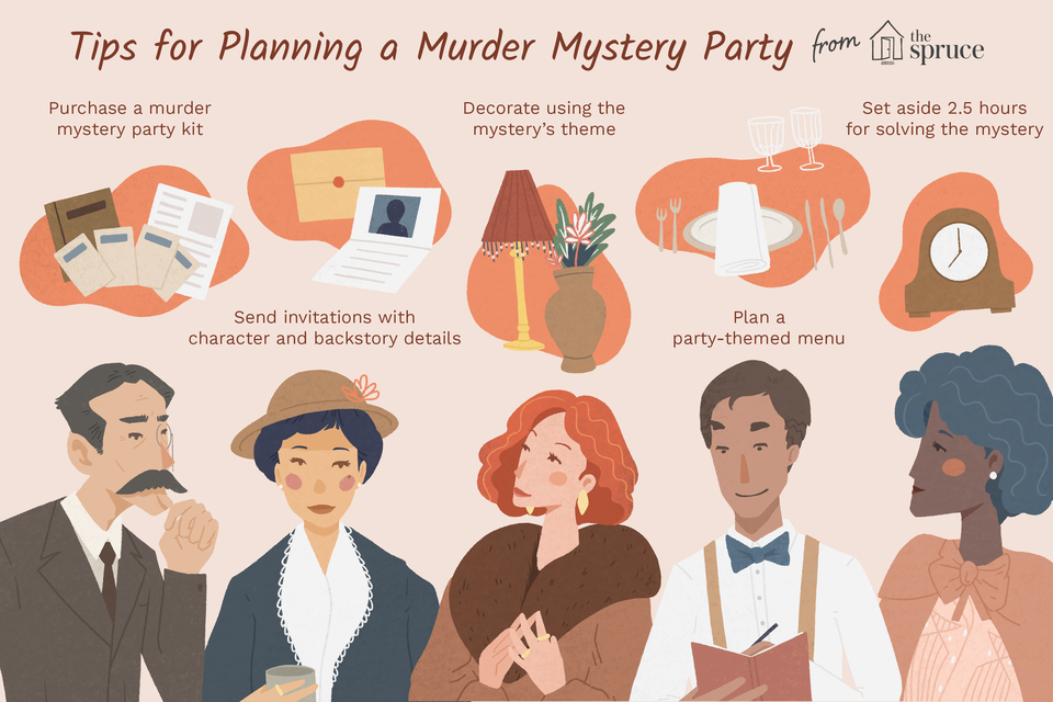 Illustration about planning a murder mystery party