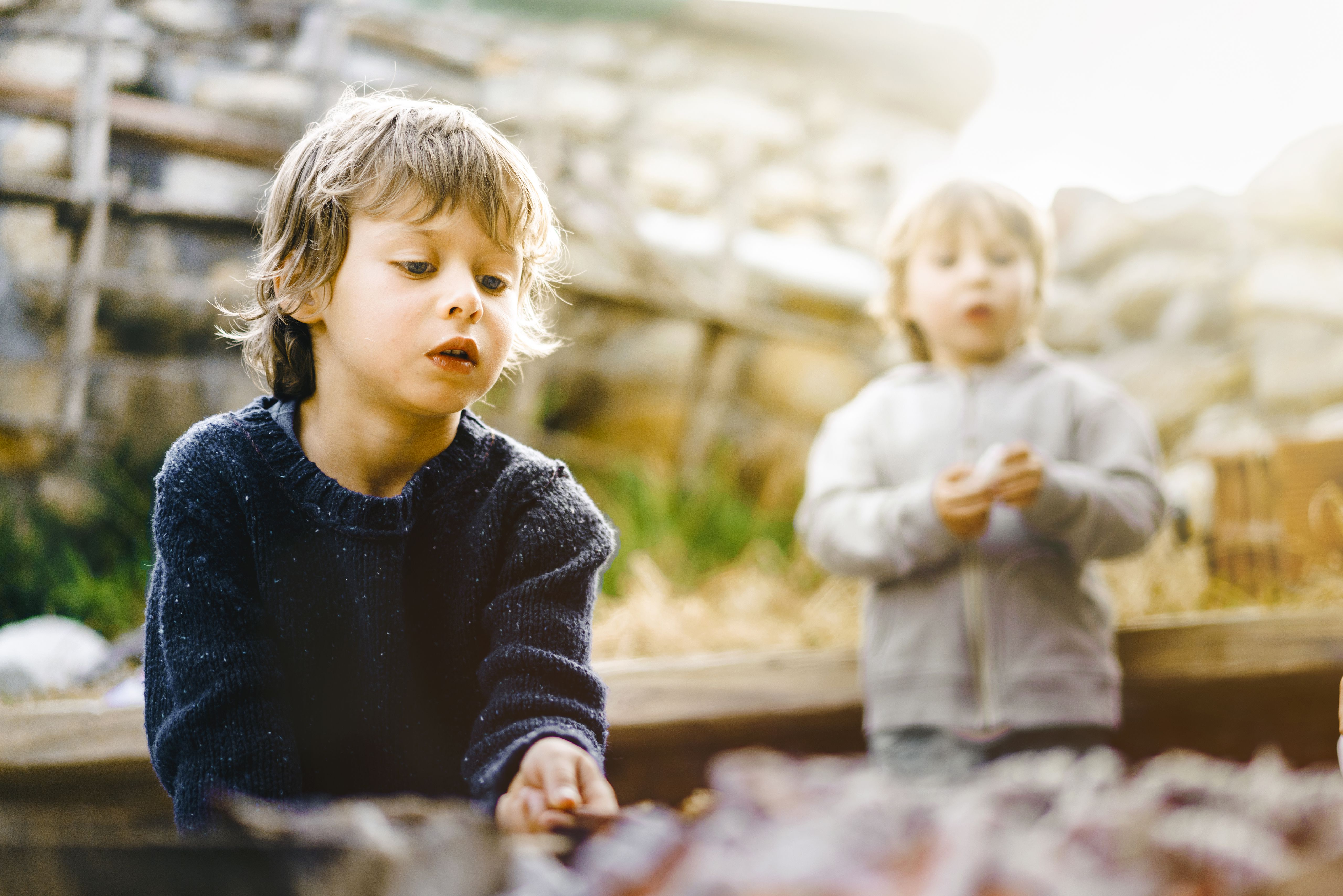 Child roasting food in campfire