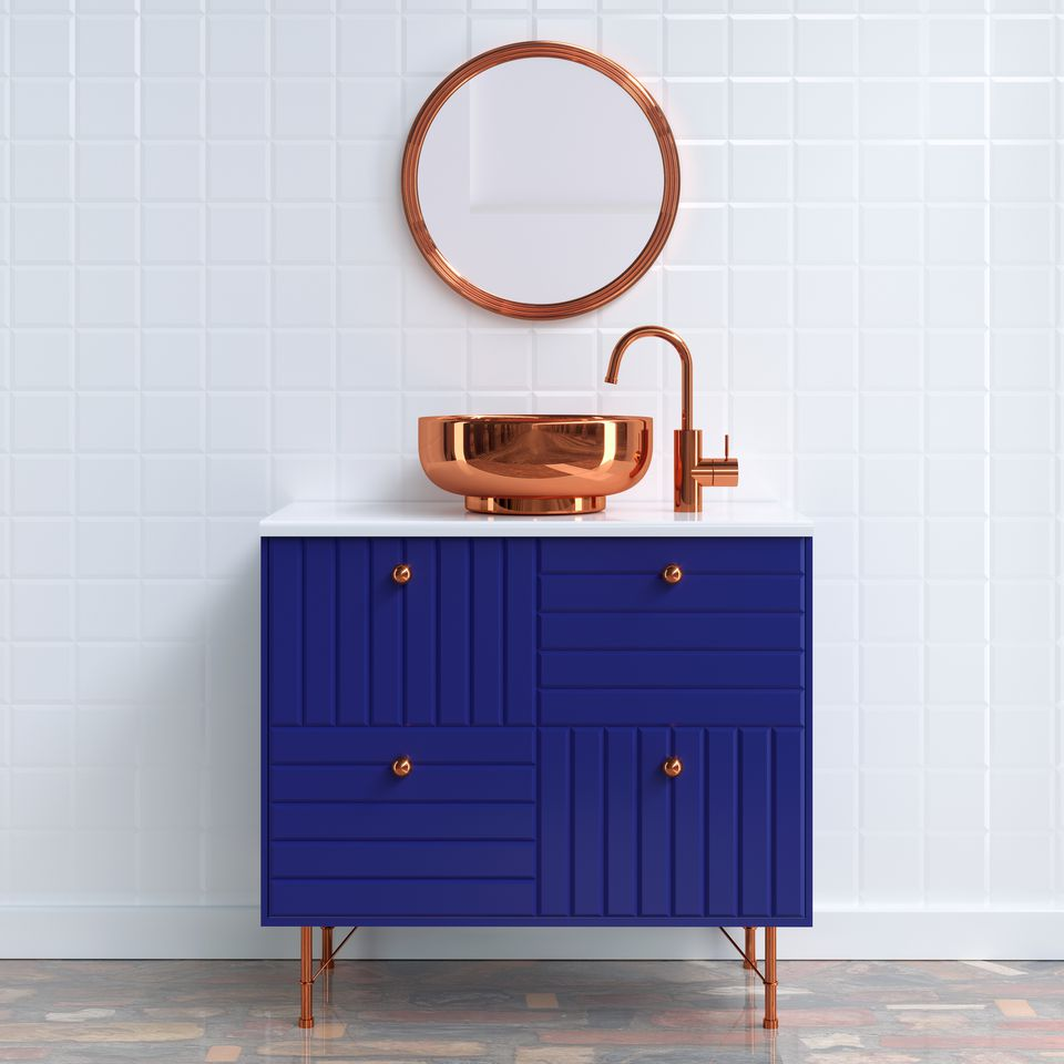 Copper sink and mirror