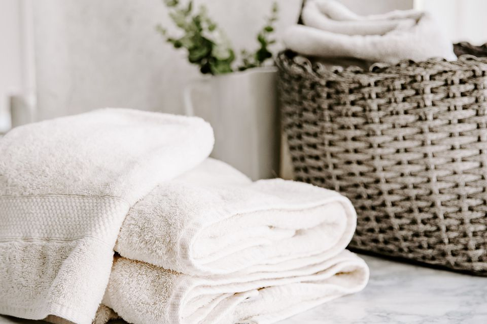 folded white towels