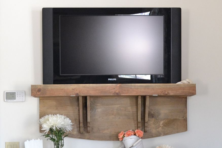 DIY TV Stand Shelf Hack via smallspaces about 56a df78cf7729ea062