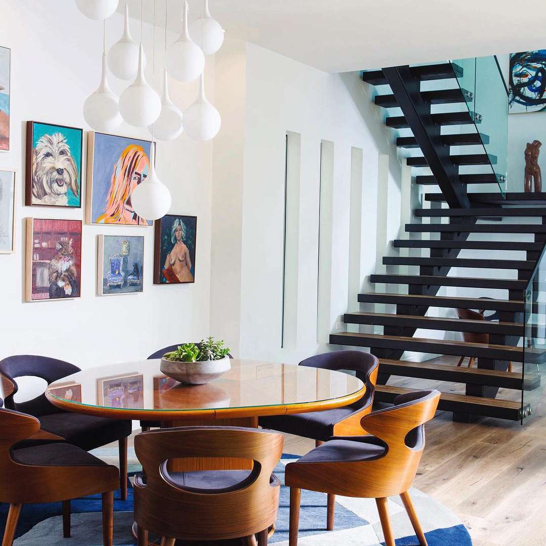 Modern home with art