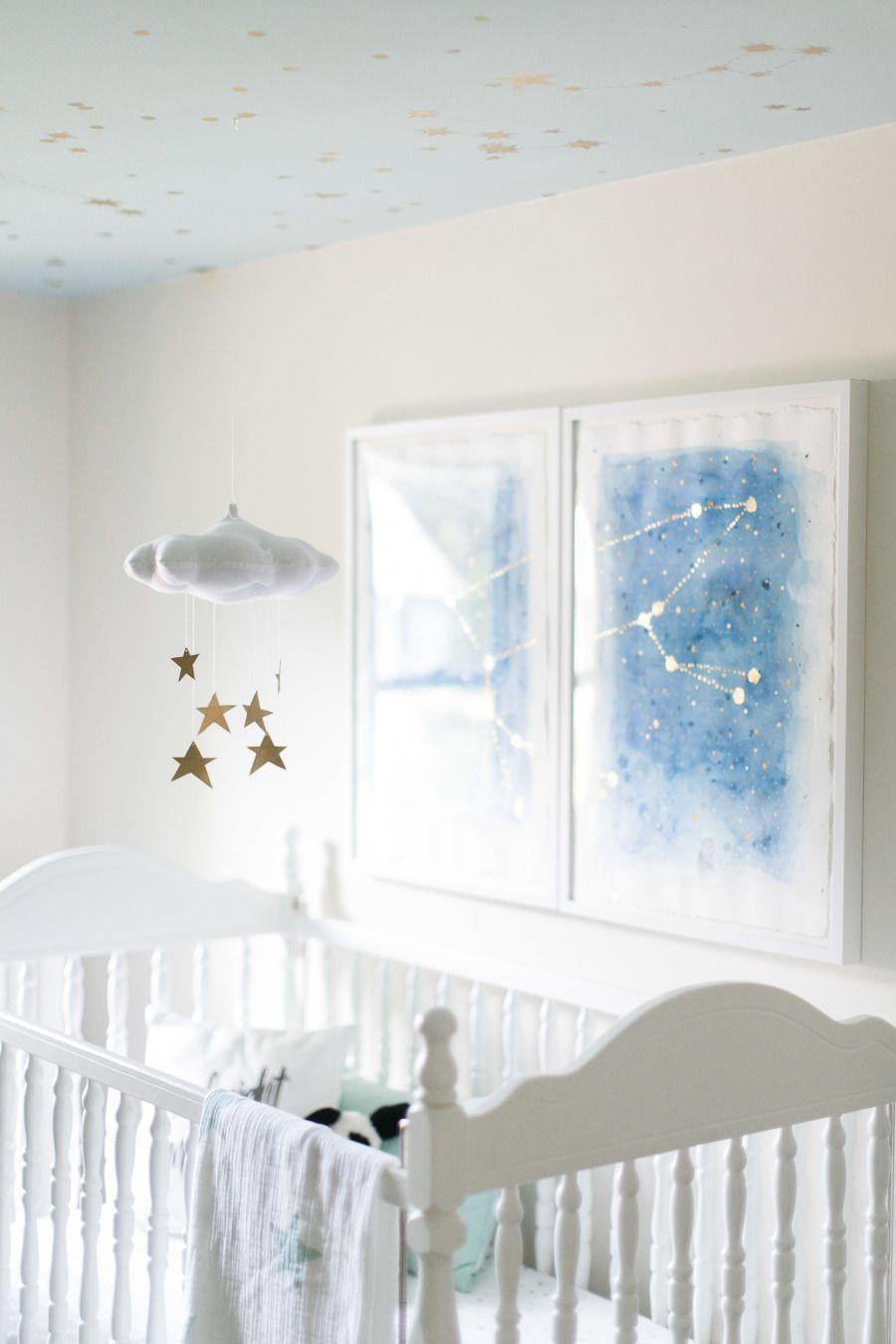 Sweet star-themed nursery with DIY constellation art