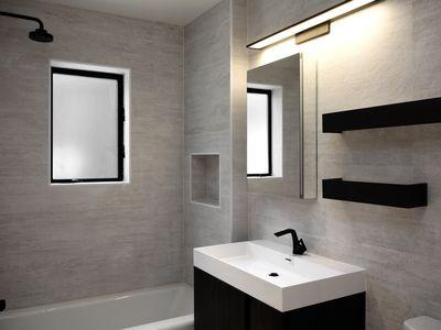 black and gray bathroom