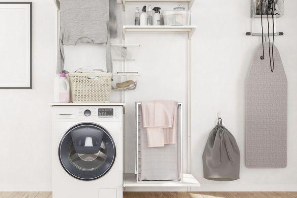 an organized laundry room