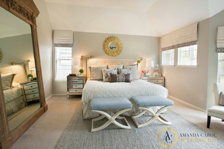 Big mirror in glamorous bedroom
