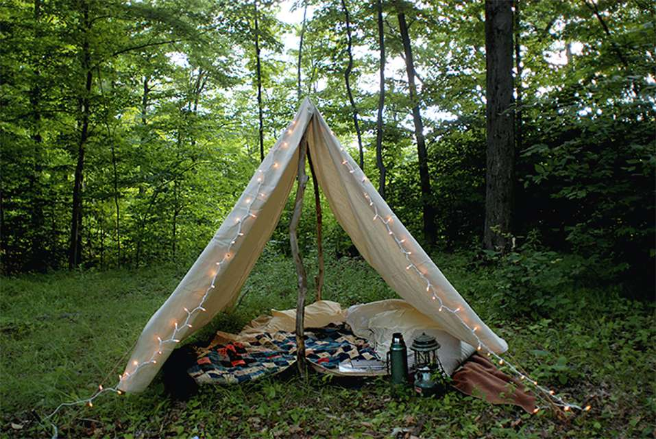 A canvas tent outside
