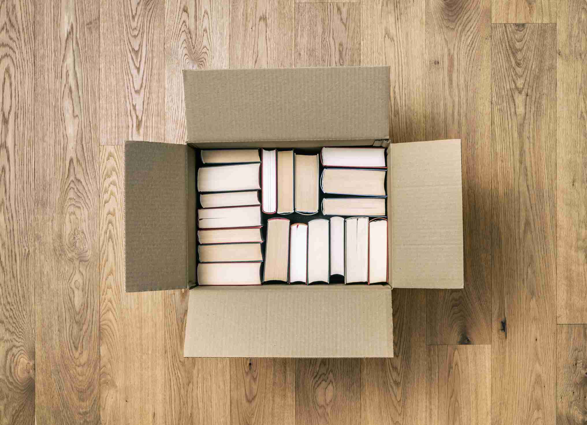 Books in cardboard box