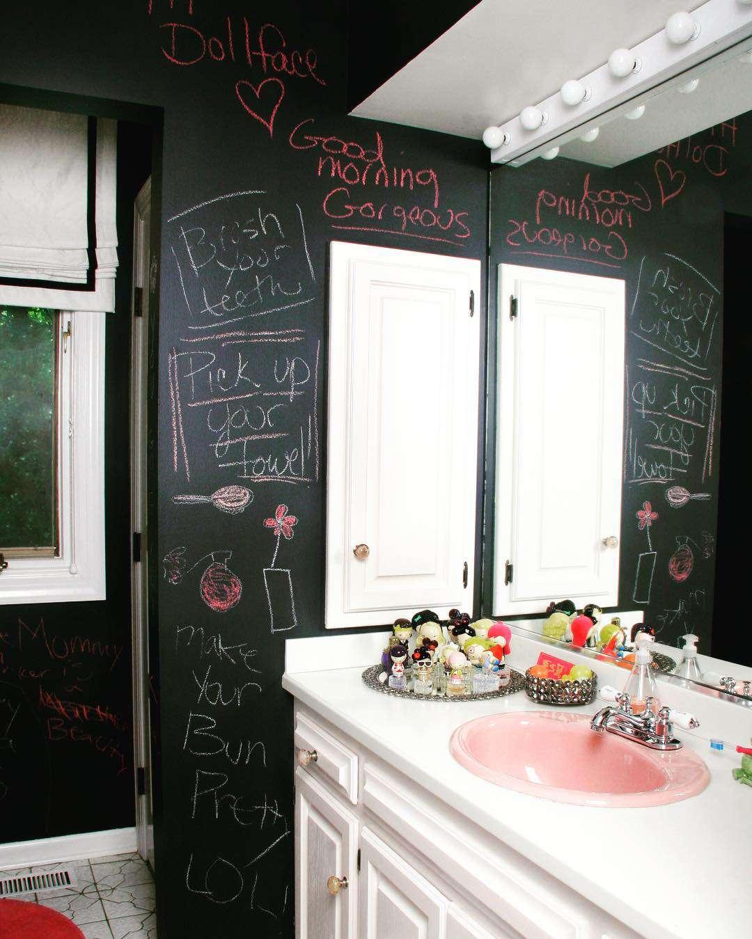 Black, white and rose pink chalkboard kids' bathroom