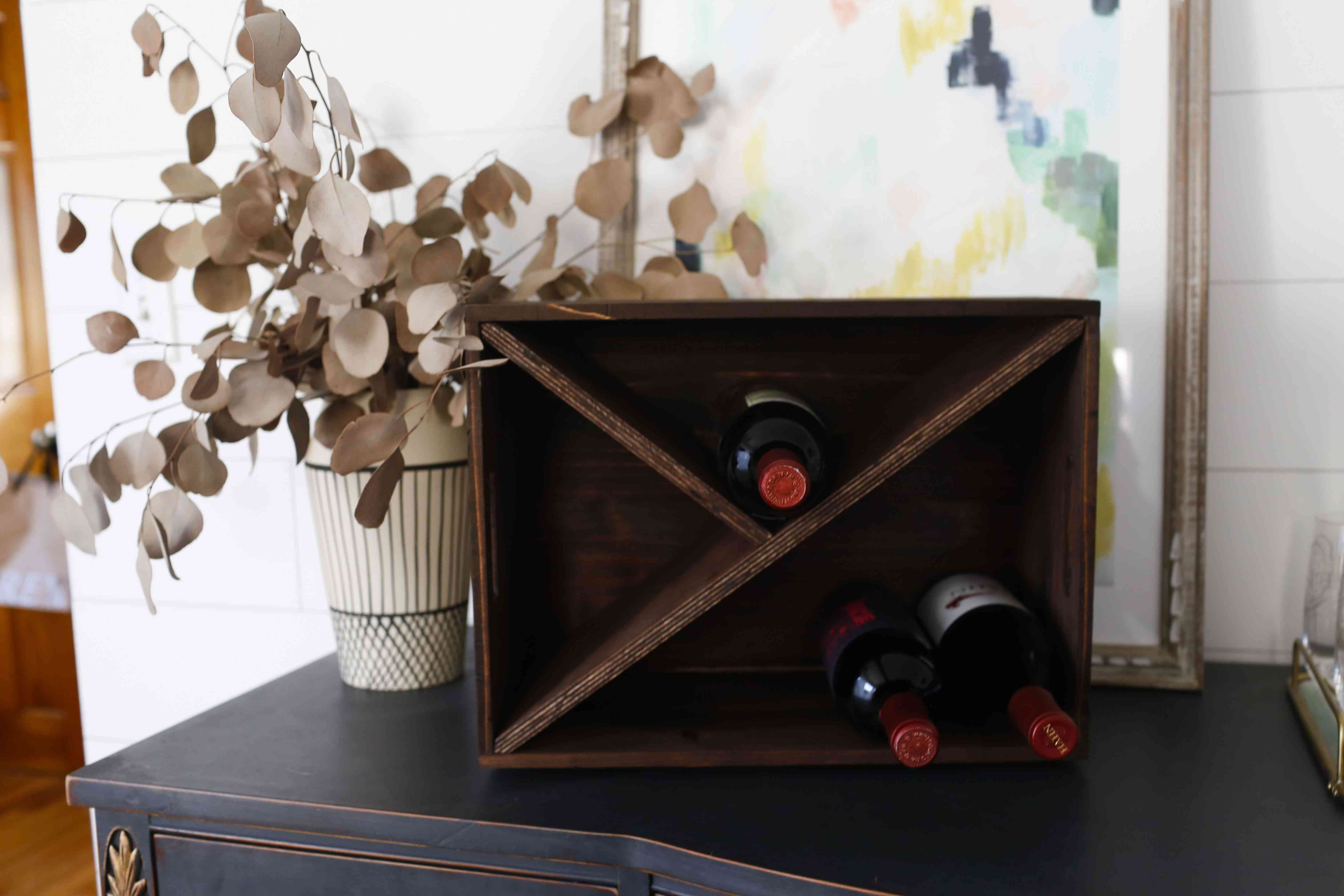 DIY wine rack made from a crate