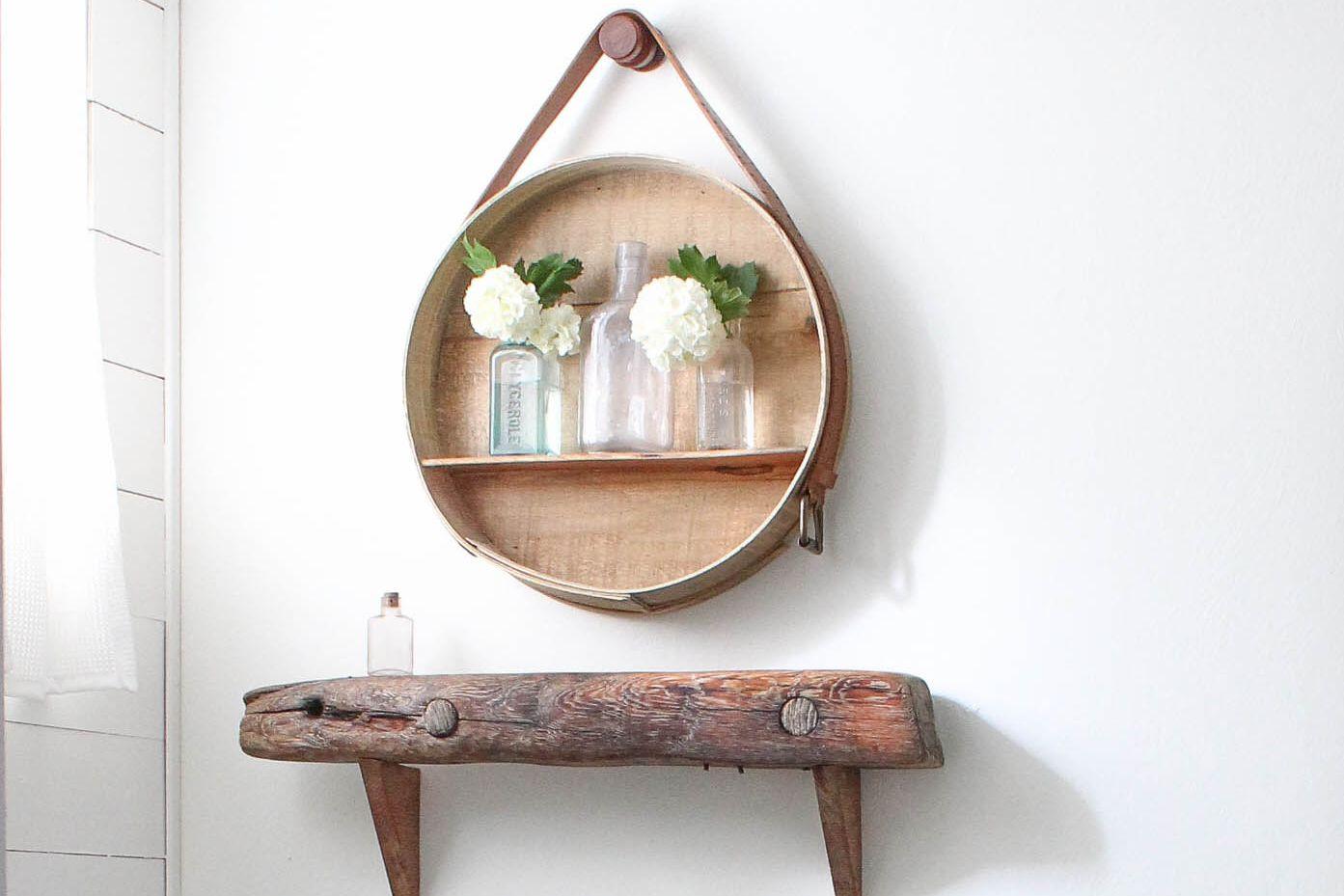 Circle shelf with bottles