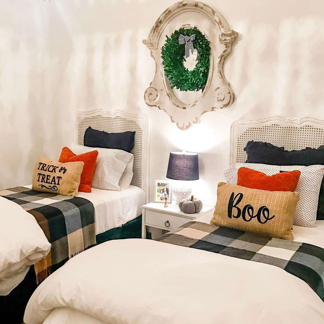 Guest room with holiday decor