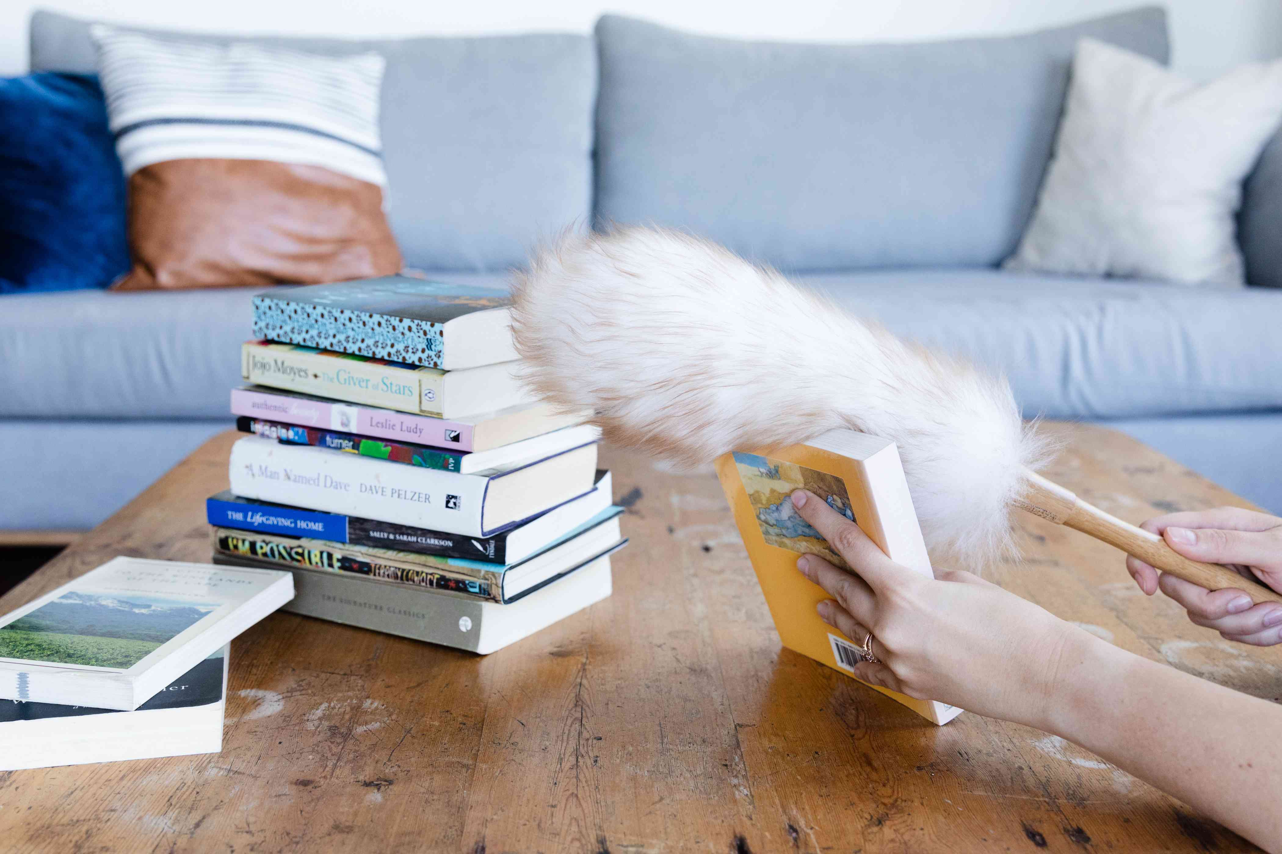 removing and dusting books from bookshelves